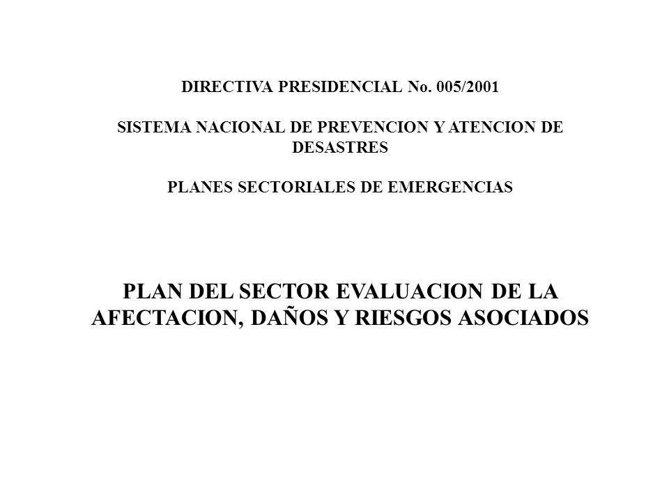 PLAN DEL SECTOR EVALUACION DE LA AFECTACION, DAÑOS Y RIESGOS ASOCIADOS