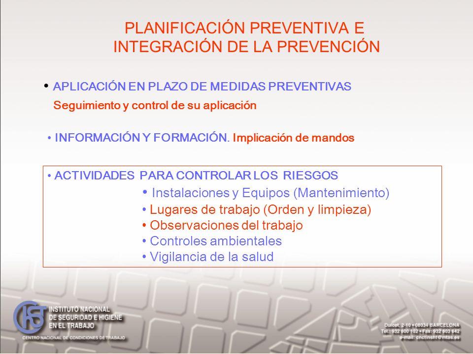PLANIFICACIÓN PREVENTIVA E INTEGRACIÓN DE LA PREVENCIÓN