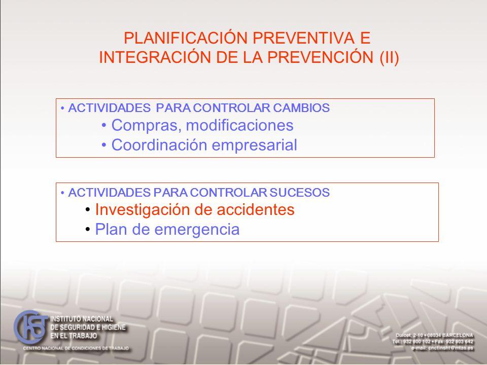 PLANIFICACIÓN PREVENTIVA E INTEGRACIÓN DE LA PREVENCIÓN (II)