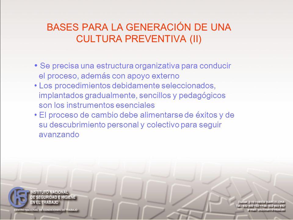 BASES PARA LA GENERACIÓN DE UNA CULTURA PREVENTIVA (II)
