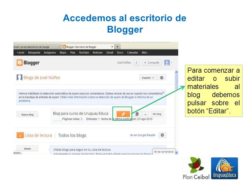 Accedemos al escritorio de Blogger