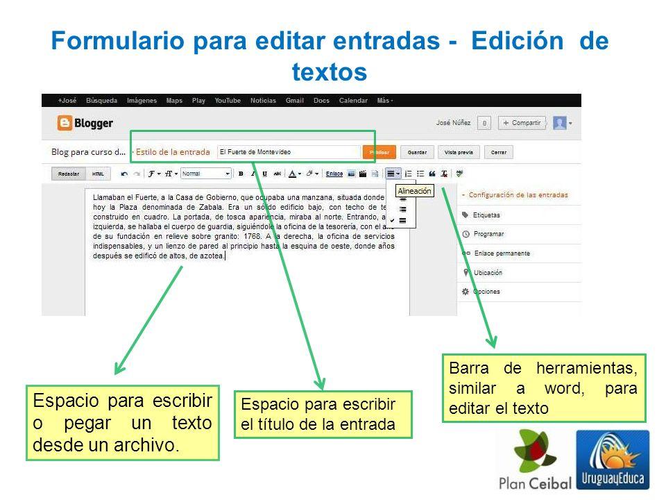 Formulario para editar entradas - Edición de textos