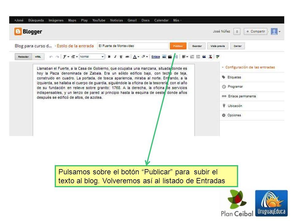 Pulsamos sobre el botón Publicar para subir el texto al blog