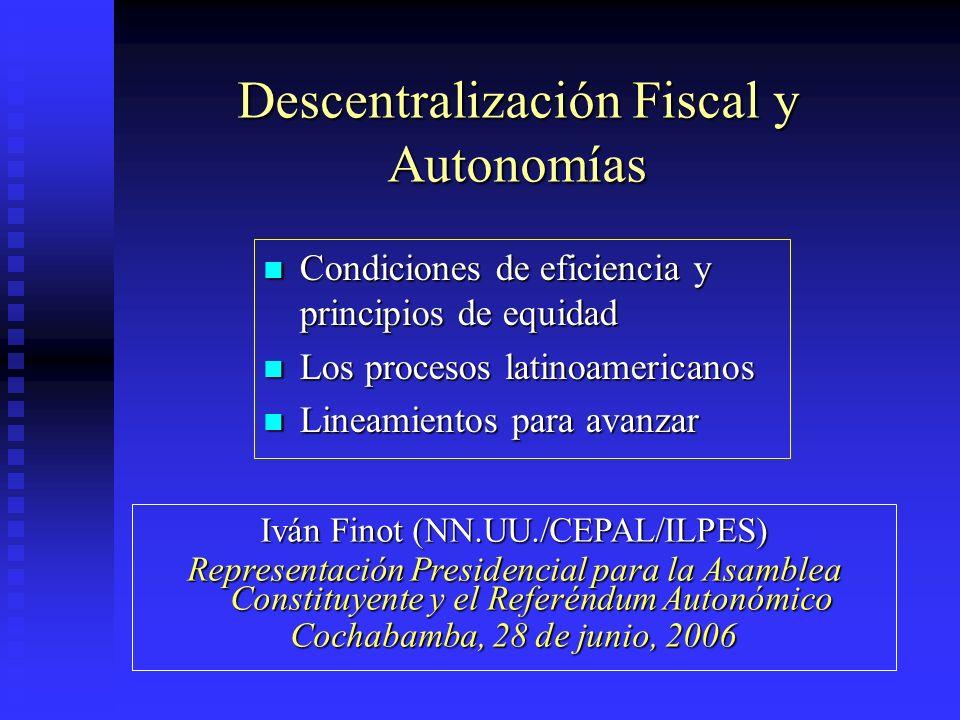 Descentralización Fiscal y Autonomías