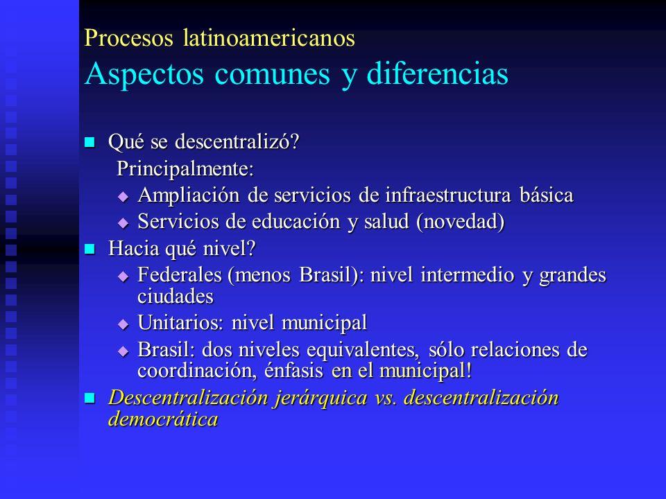 Procesos latinoamericanos Aspectos comunes y diferencias