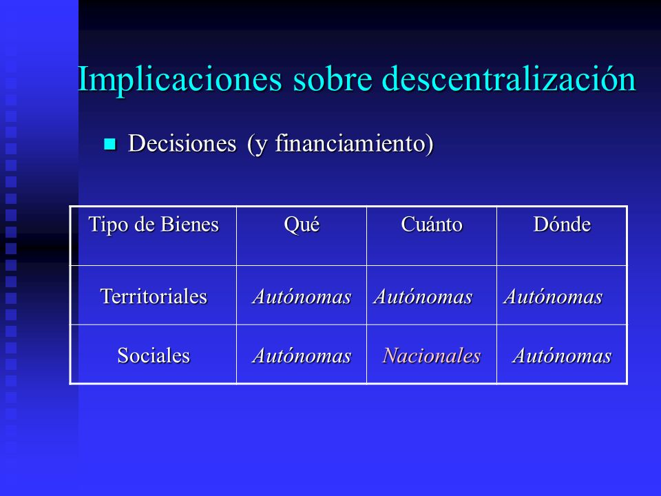 Implicaciones sobre descentralización