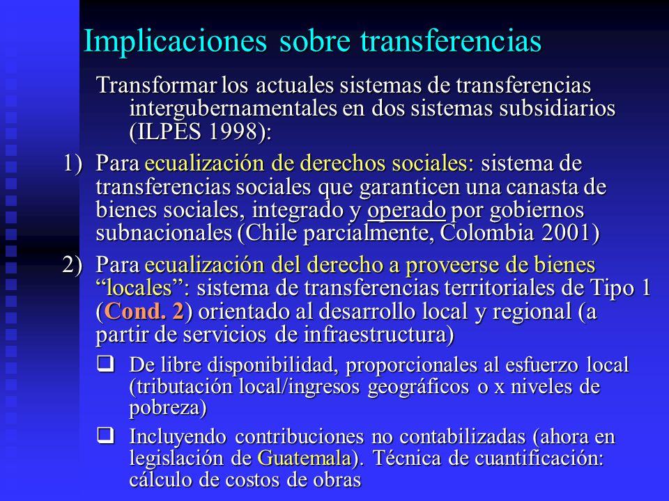 Implicaciones sobre transferencias