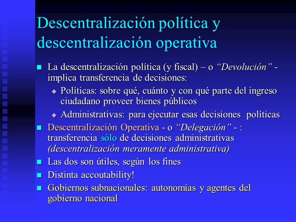 Descentralización política y descentralización operativa