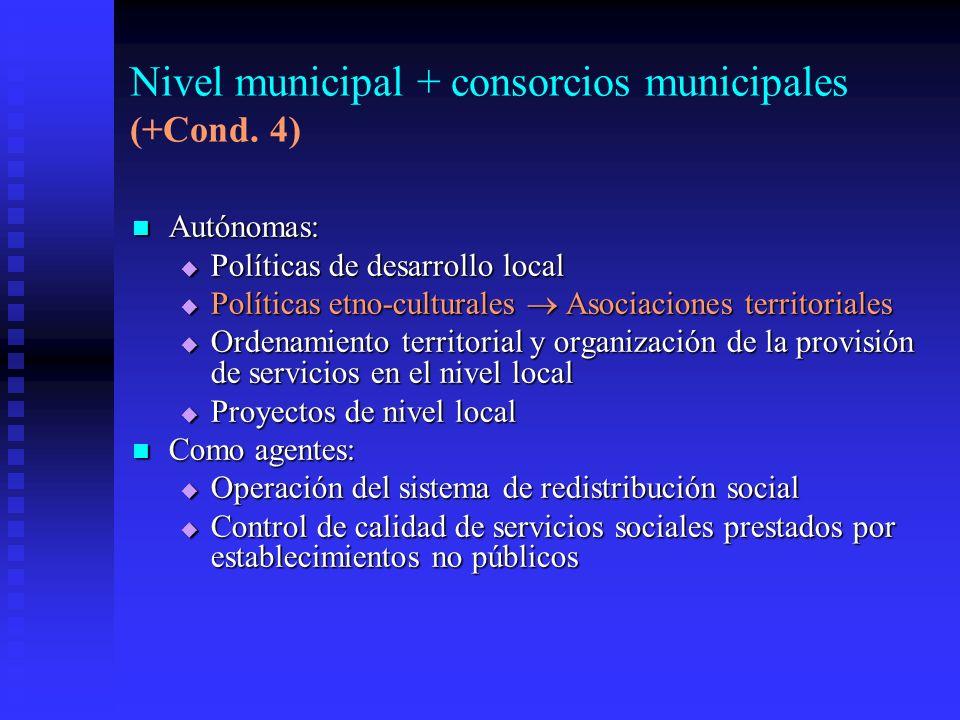 Nivel municipal + consorcios municipales (+Cond. 4)