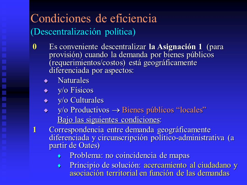 Condiciones de eficiencia (Descentralización política)