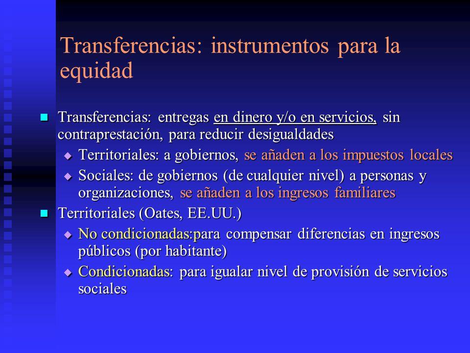 Transferencias: instrumentos para la equidad