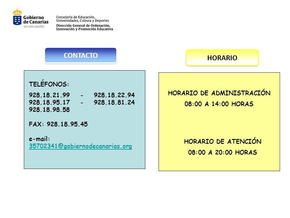 HORARIO DE ADMINISTRACIÓN