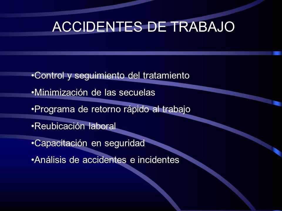 ACCIDENTES DE TRABAJO Control y seguimiento del tratamiento