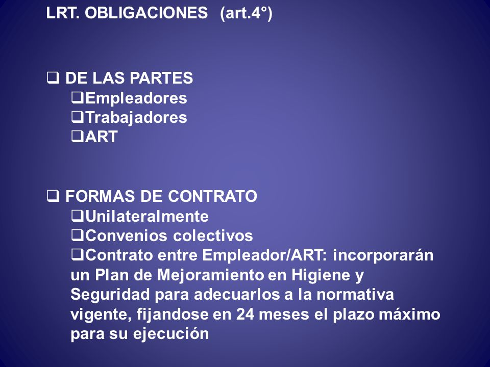 LRT. OBLIGACIONES (art.4°)