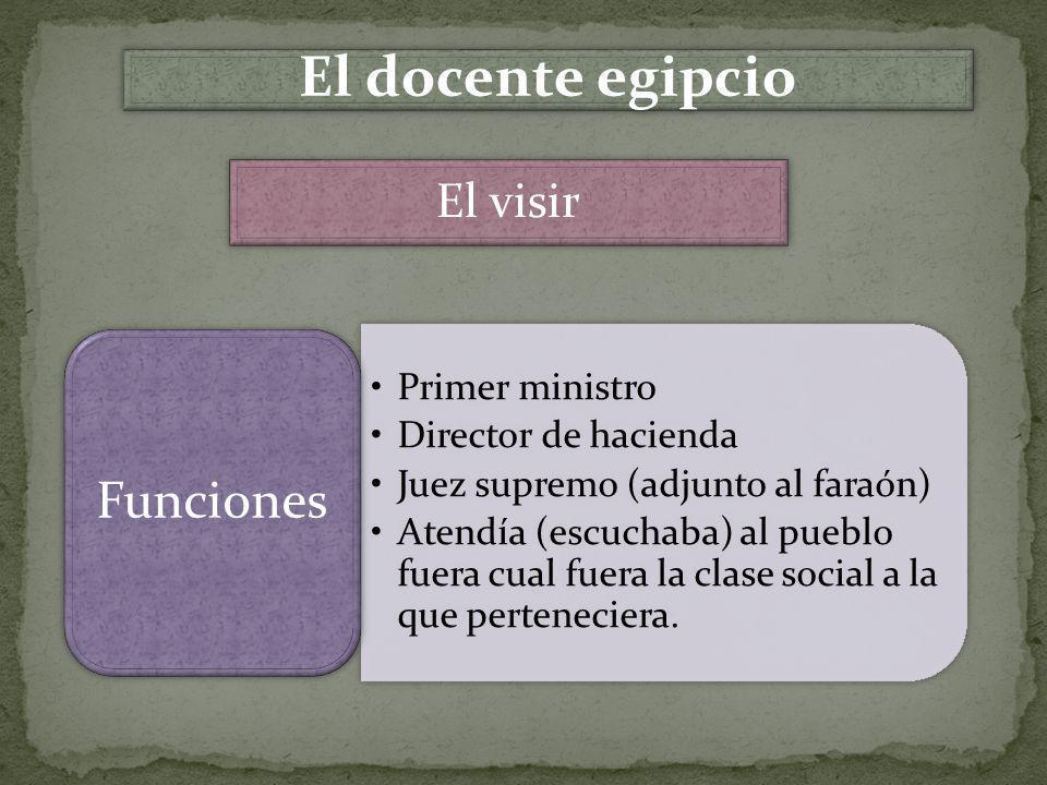 El docente egipcio El visir Funciones Primer ministro