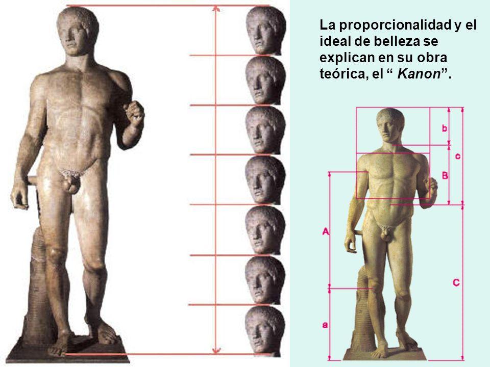 La proporcionalidad y el ideal de belleza se explican en su obra teórica, el Kanon .