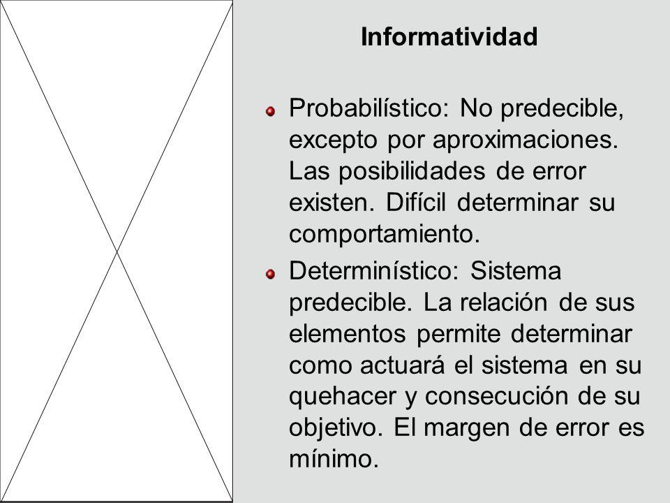 InformatividadProbabilístico: No predecible, excepto por aproximaciones. Las posibilidades de error existen. Difícil determinar su comportamiento.