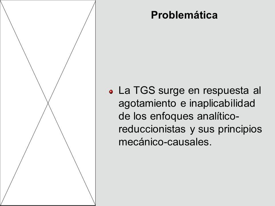 ProblemáticaLa TGS surge en respuesta al agotamiento e inaplicabilidad de los enfoques analítico-reduccionistas y sus principios mecánico-causales.