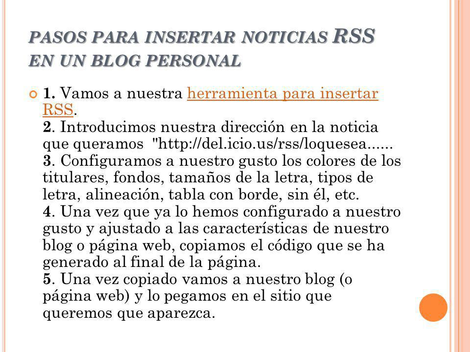 pasos para insertar noticias RSS en un blog personal
