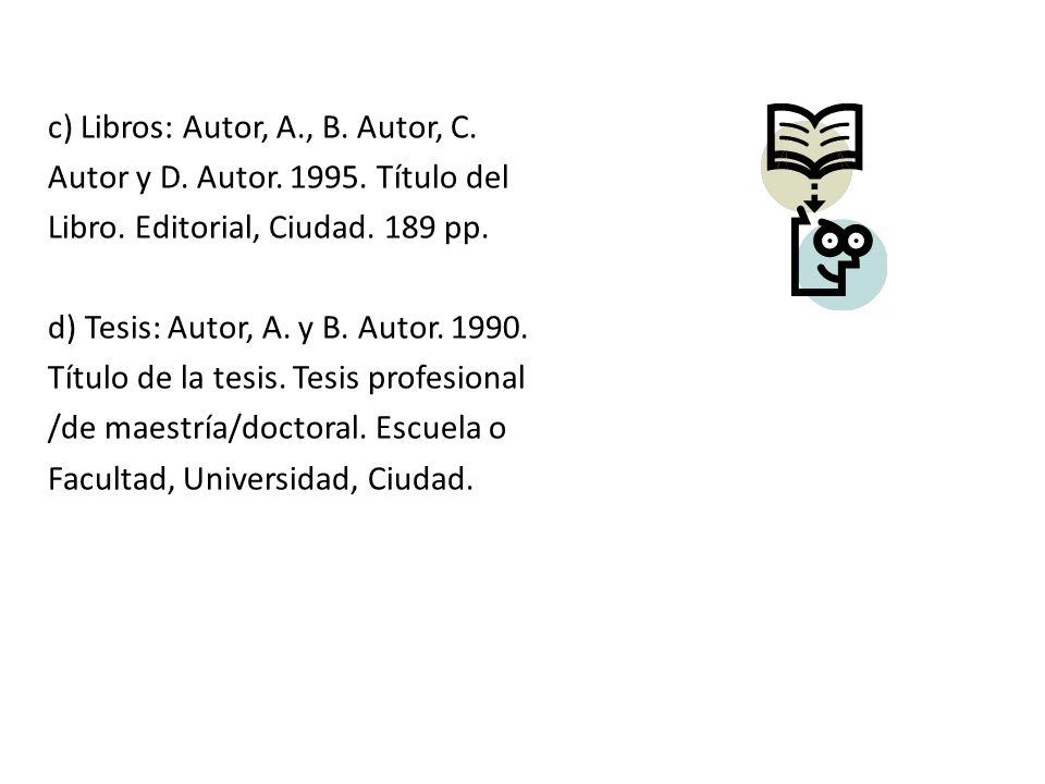 c) Libros: Autor, A., B. Autor, C.