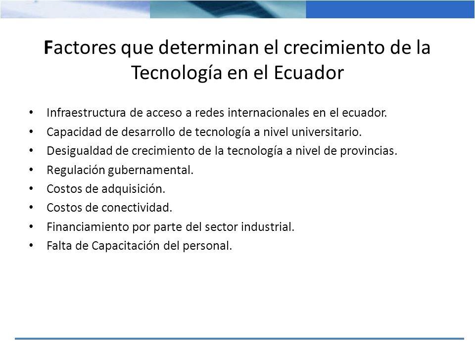 Factores que determinan el crecimiento de la Tecnología en el Ecuador