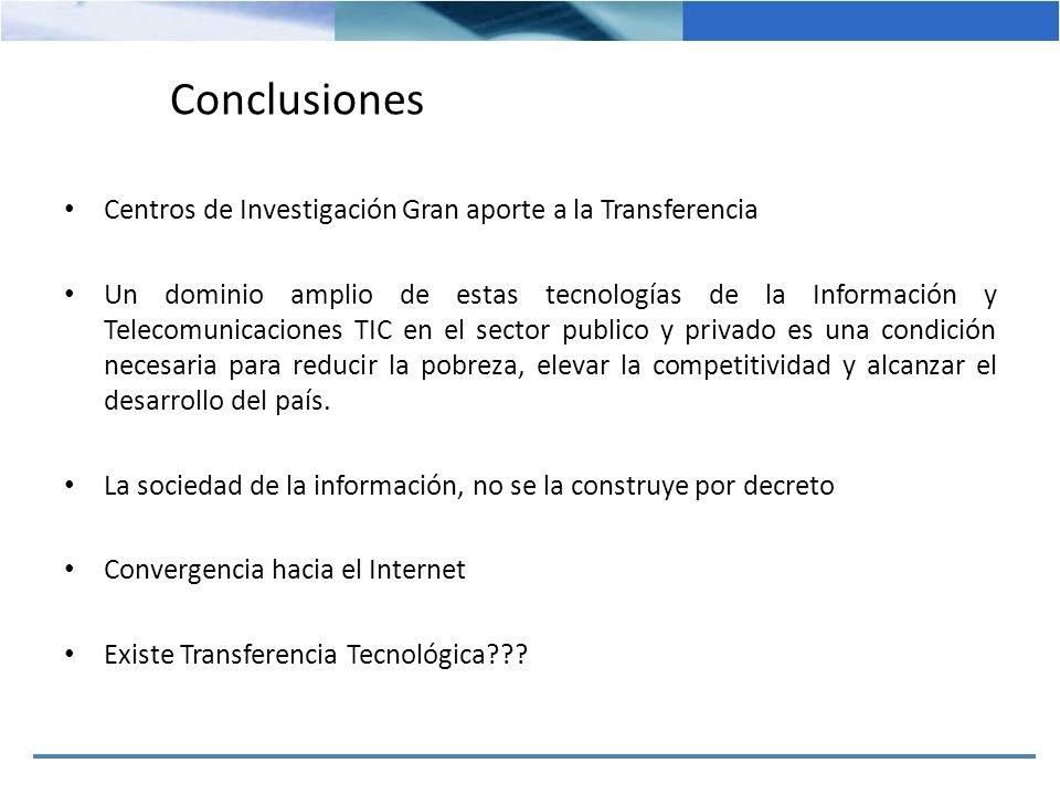 Conclusiones Centros de Investigación Gran aporte a la Transferencia