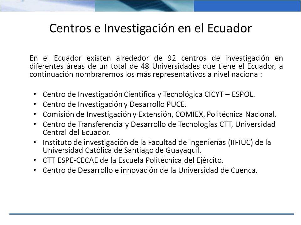 Centros e Investigación en el Ecuador