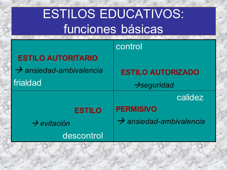 ESTILOS EDUCATIVOS: funciones básicas