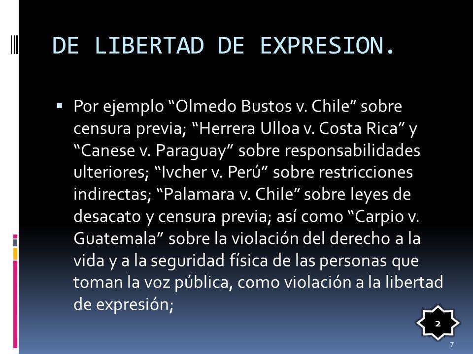 DE LIBERTAD DE EXPRESION.