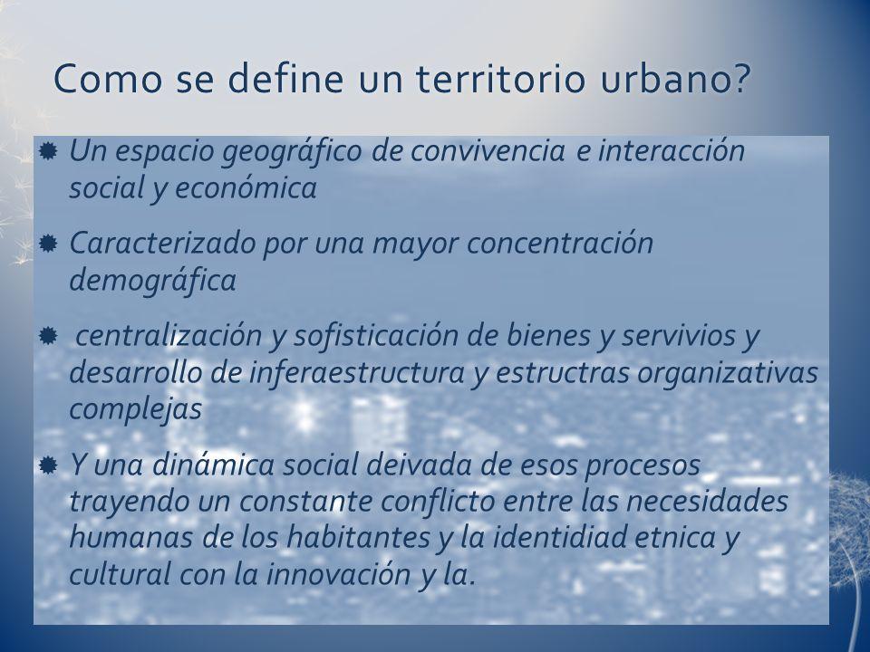 Como se define un territorio urbano