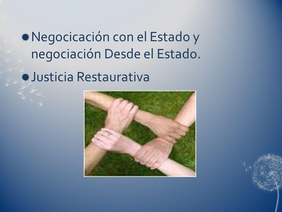 Negocicación con el Estado y negociación Desde el Estado.