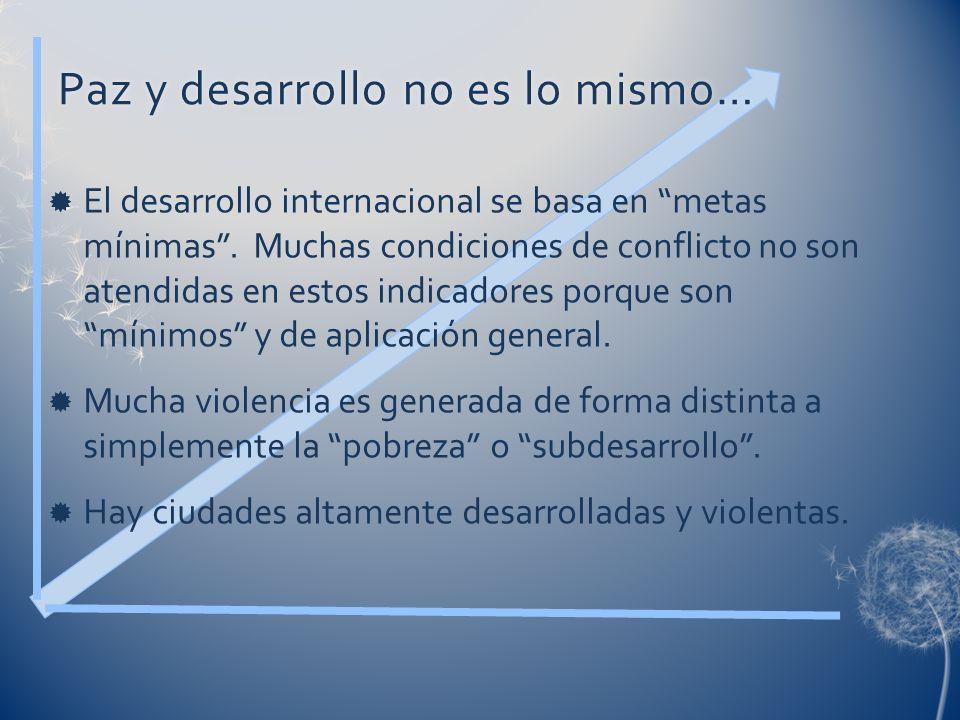 Paz y desarrollo no es lo mismo…