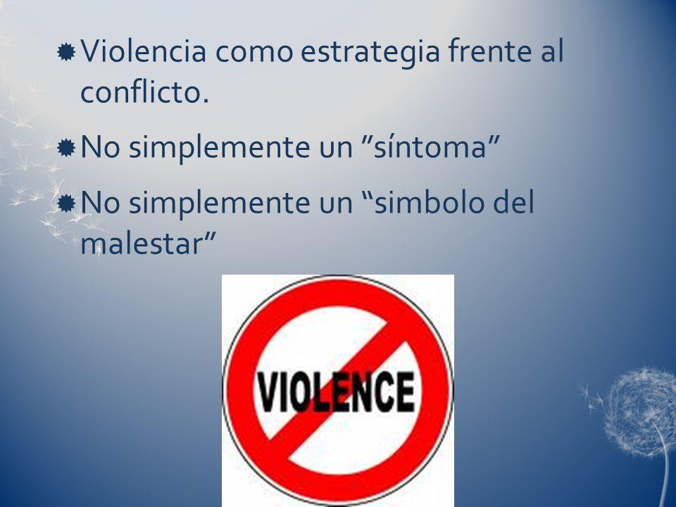 Violencia como estrategia frente al conflicto.