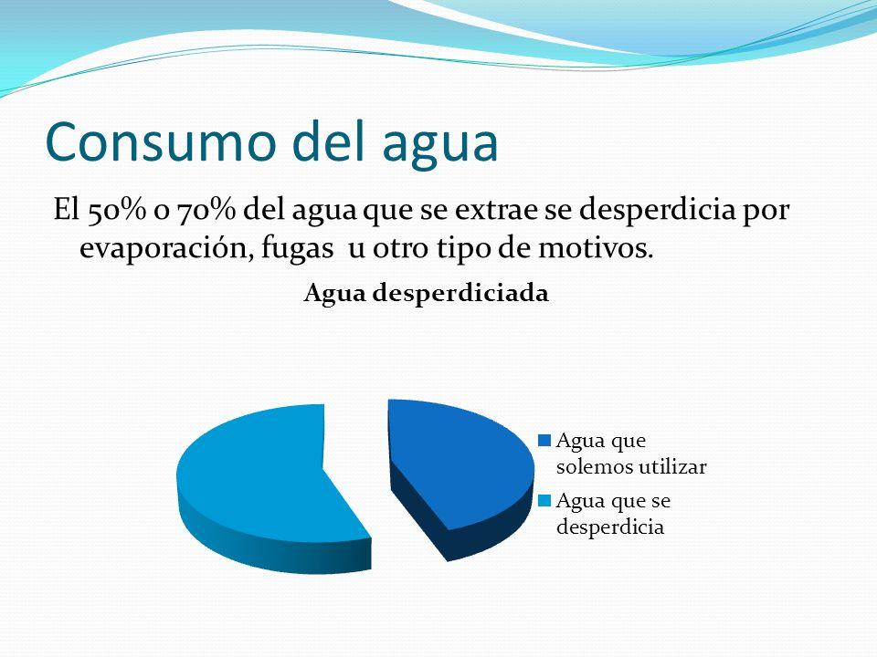 Consumo del agua El 50% o 70% del agua que se extrae se desperdicia por evaporación, fugas u otro tipo de motivos.