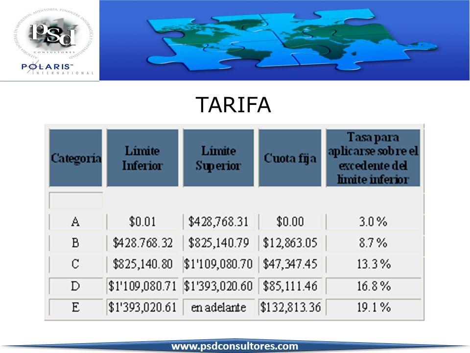 TARIFA www.psdconsultores.com