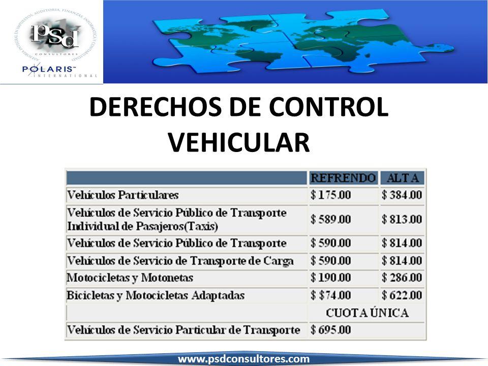 DERECHOS DE CONTROL VEHICULAR