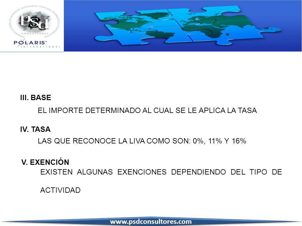 III. BASE EL IMPORTE DETERMINADO AL CUAL SE LE APLICA LA TASA. IV. TASA. LAS QUE RECONOCE LA LIVA COMO SON: 0%, 11% Y 16%