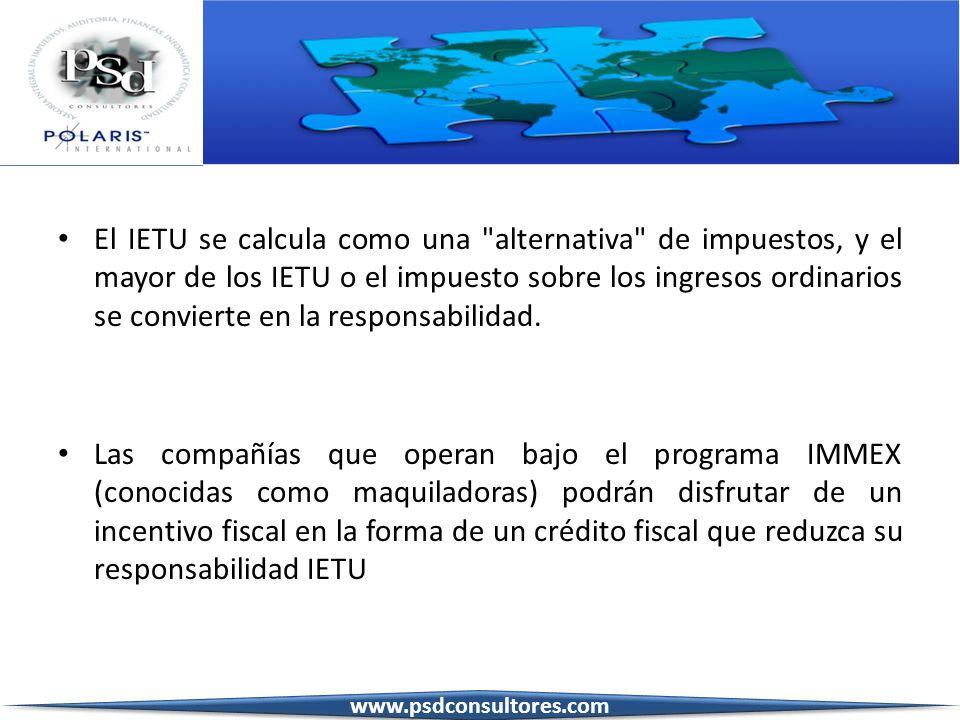 El IETU se calcula como una alternativa de impuestos, y el mayor de los IETU o el impuesto sobre los ingresos ordinarios se convierte en la responsabilidad.