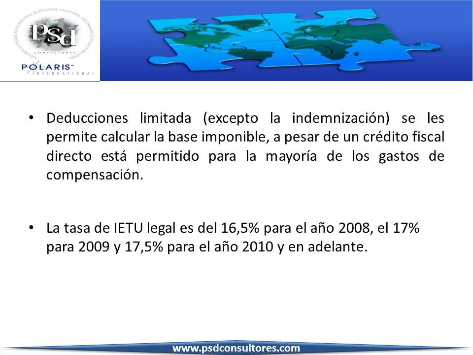 Deducciones limitada (excepto la indemnización) se les permite calcular la base imponible, a pesar de un crédito fiscal directo está permitido para la mayoría de los gastos de compensación.