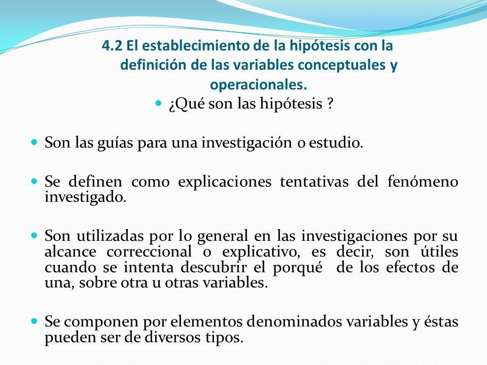 4.2 El establecimiento de la hipótesis con la definición de las variables conceptuales y operacionales.