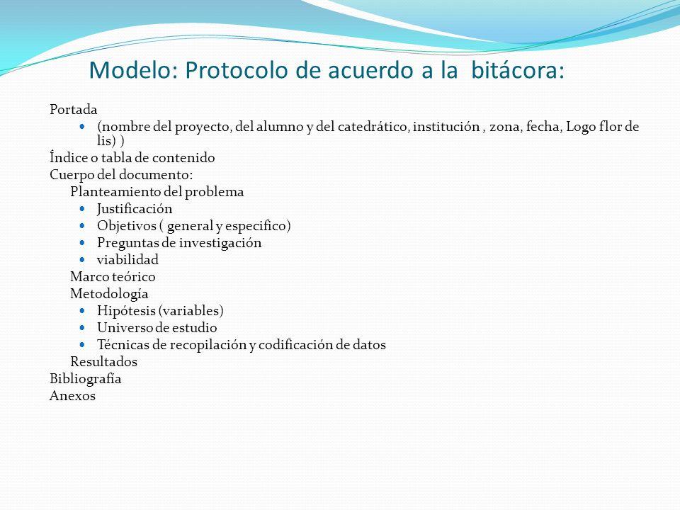 Modelo: Protocolo de acuerdo a la bitácora: