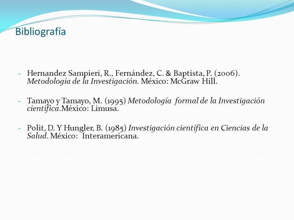 Bibliografía Hernandez Sampieri, R., Fernández, C. & Baptista, P. (2006). Metodología de la Investigación. México: McGraw Hill.