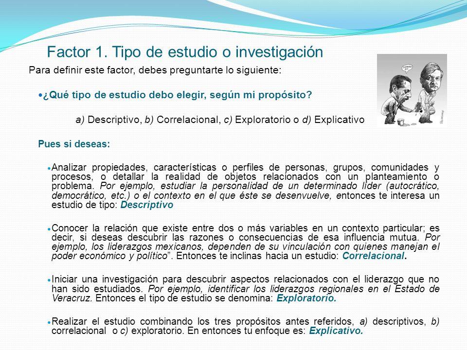 Factor 1. Tipo de estudio o investigación