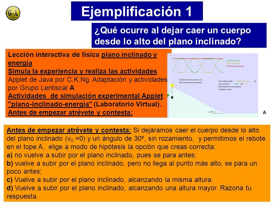 Ejemplificación 1 ¿Qué ocurre al dejar caer un cuerpo desde lo alto del plano inclinado Lección interactiva de física plano inclinado y energía.