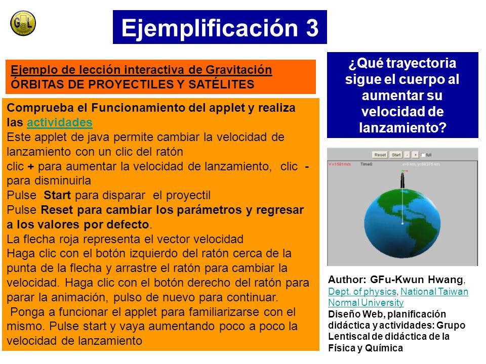 Ejemplificación 3 ¿Qué trayectoria sigue el cuerpo al aumentar su velocidad de lanzamiento Ejemplo de lección interactiva de Gravitación.