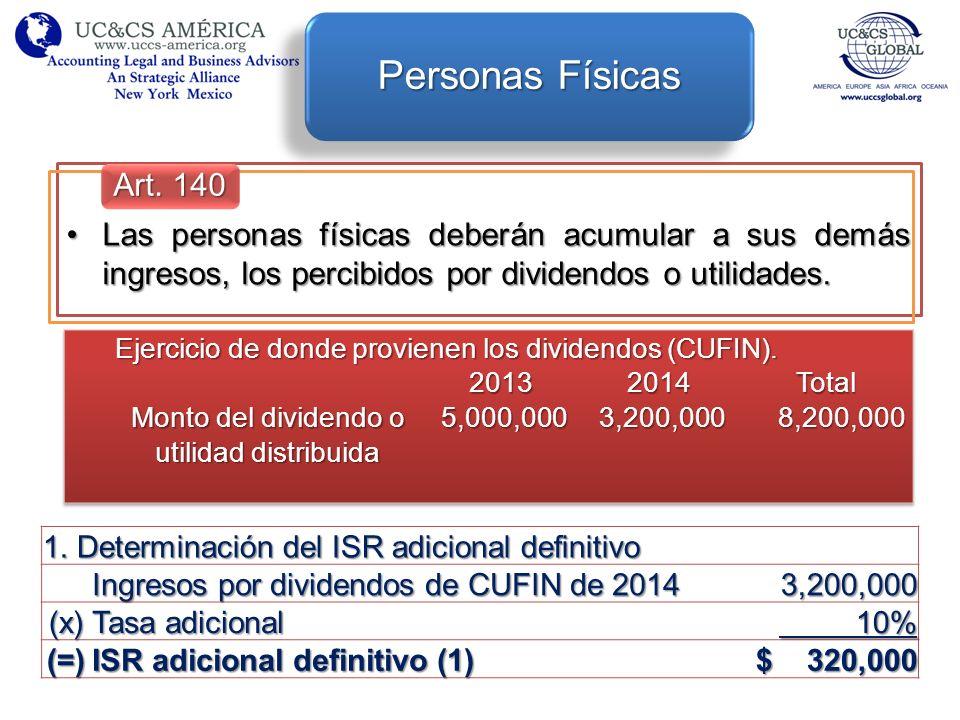 Personas Físicas Art. 140. Las personas físicas deberán acumular a sus demás ingresos, los percibidos por dividendos o utilidades.