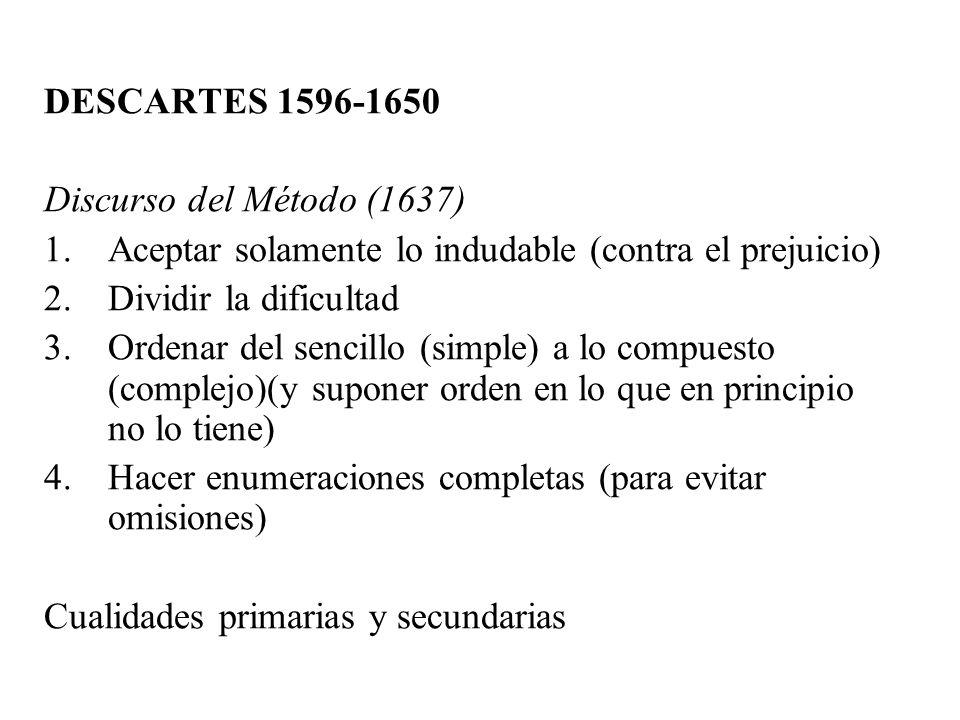 DESCARTES 1596-1650 Discurso del Método (1637) Aceptar solamente lo indudable (contra el prejuicio)
