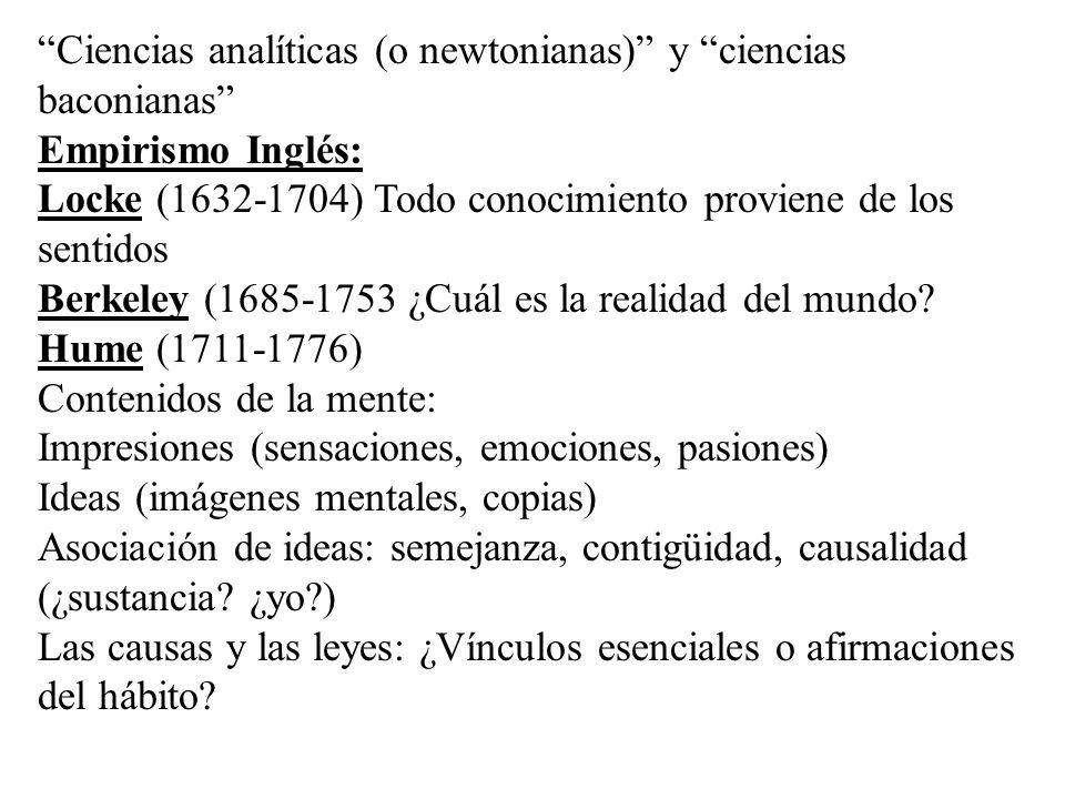 Ciencias analíticas (o newtonianas) y ciencias baconianas