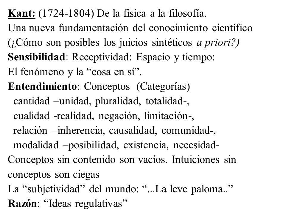 Kant: (1724-1804) De la física a la filosofía