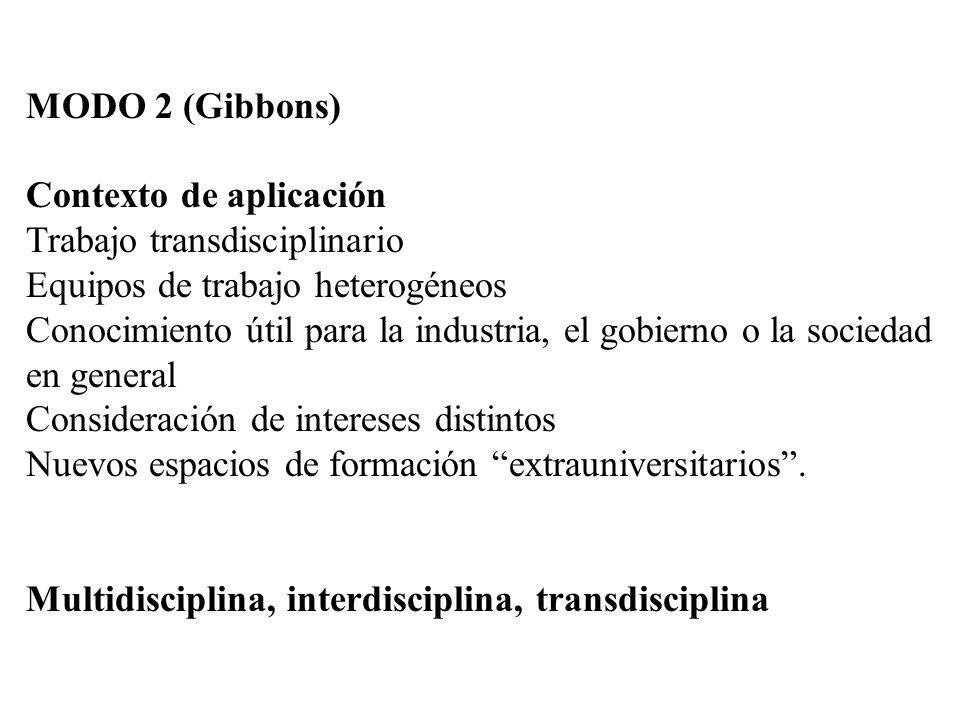 MODO 2 (Gibbons) Contexto de aplicación. Trabajo transdisciplinario. Equipos de trabajo heterogéneos.